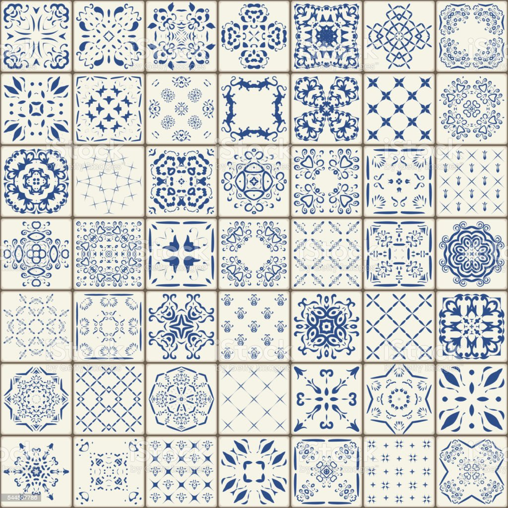 Mega Gorgeous seamless patchwork pattern from tiles. vector art illustration