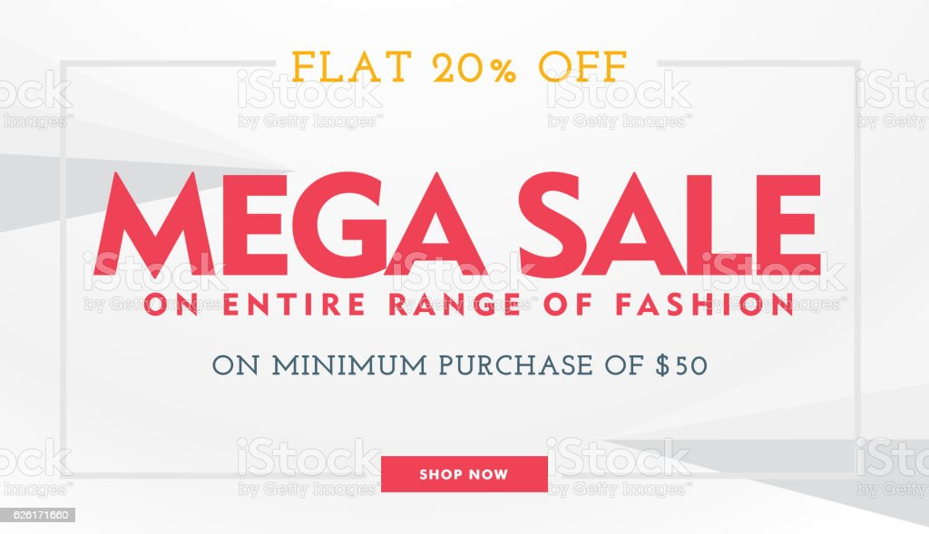 mega sale banner template in white and red colors vector art illustration