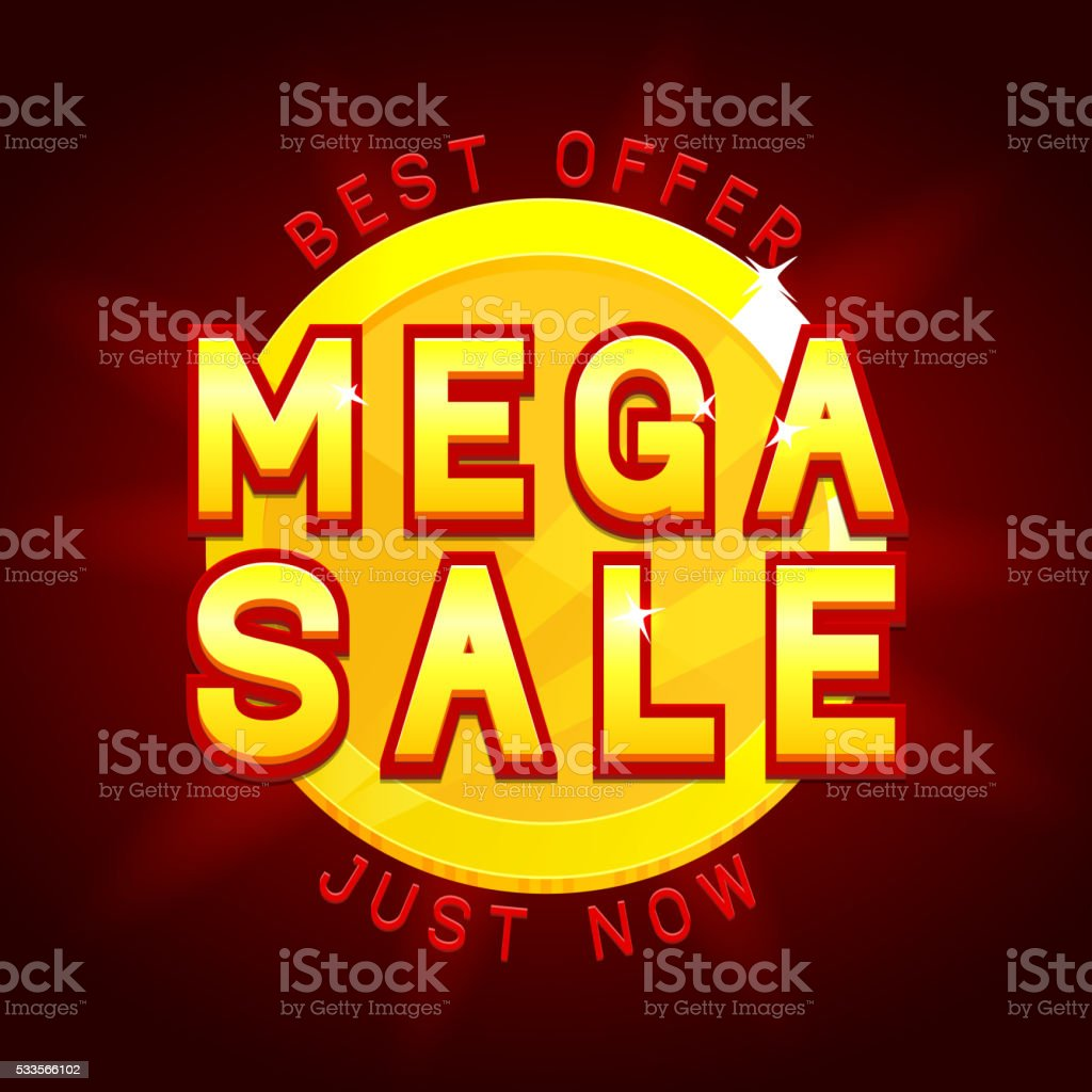 Mega sale banner with coin royalty-free stock vector art