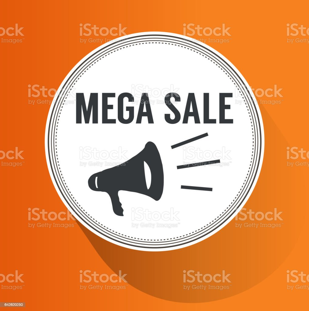 Mega Sale Paper Folding Design vector art illustration