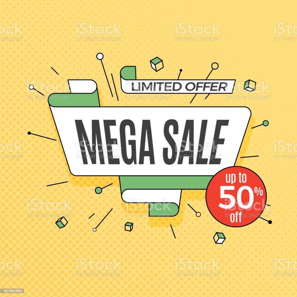 Mega sale. Retro design element in pop art style on halftone colorful background. Vintage motivation ribbon banner vector art illustration