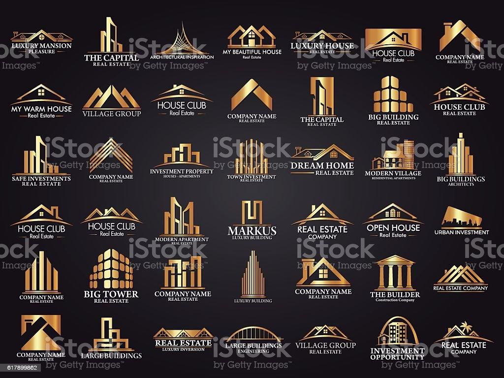 Mega Set and Big Group, Real Estate, Building and Construction Logo vector art illustration