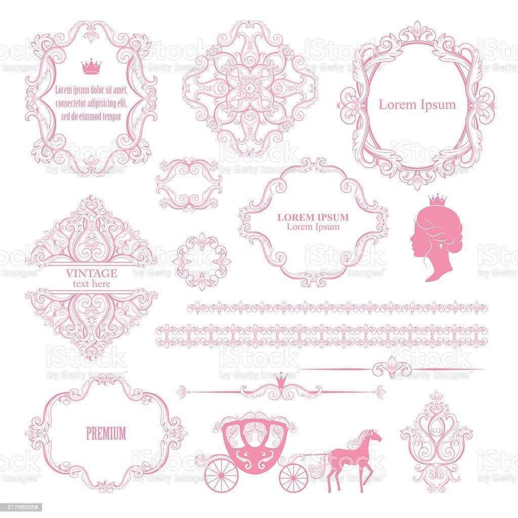 Mega set collections of vintage design elements. vector art illustration