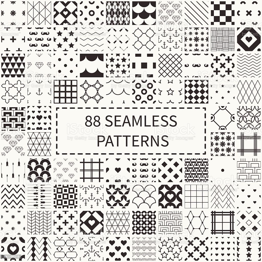 Mega set of 88 geometric universal different seamless decorative patterns. vector art illustration