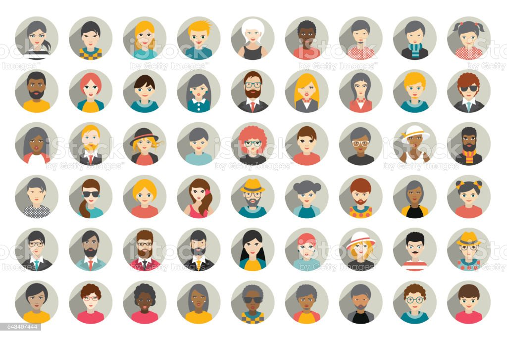 Mega set of circle persons, avatars, people heads  different nationality vector art illustration