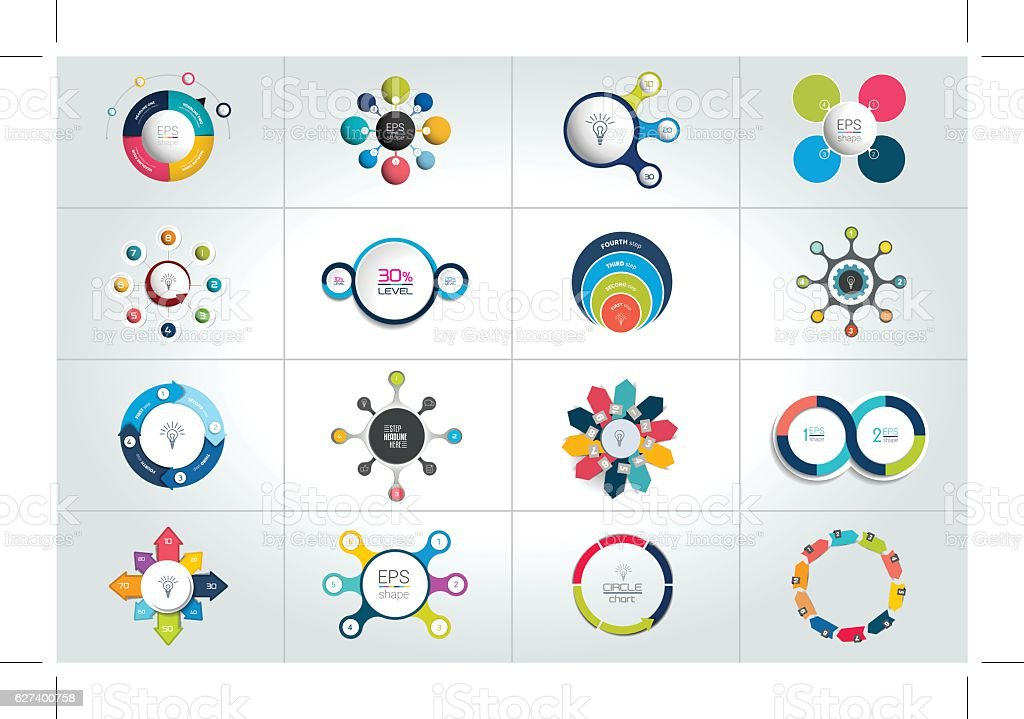 Mega set of circle, round  infographic templates, diagrams, graph, chart. vector art illustration