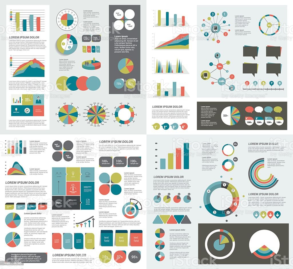 Mega set of infographics elements charts, graphs, circle charts, diagrams royalty-free stock vector art