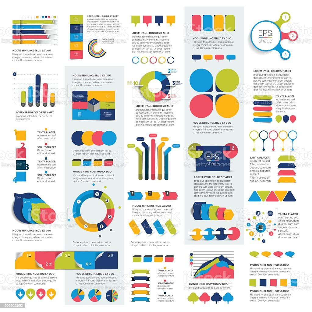 Mega set of infographics elements charts, graphs, circle charts, diagrams, vector art illustration
