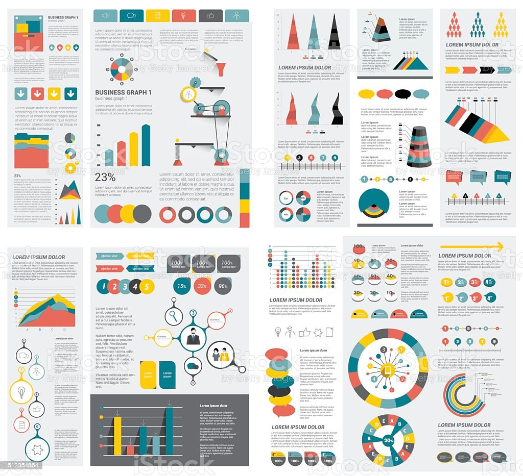 Mega set of infographics elements charts, graphs, circle charts royalty-free stock vector art