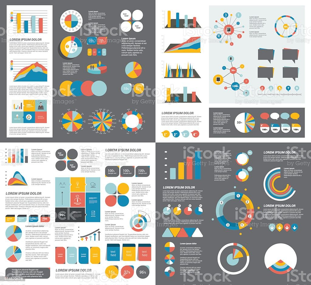 Mega set of infographics elements charts, graphs, circle charts, diagrams vector art illustration