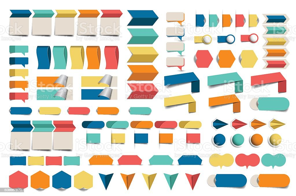 Mega set of infographics flat design elements, schemes, charts, buttons vector art illustration