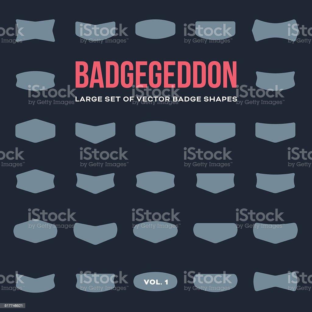 Mega set of vintage badge shapes and logo elements vector art illustration