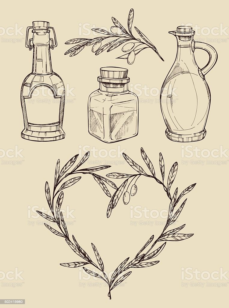 Mega vintage set. Hand drawn vector illustrations - Olive oil vector art illustration
