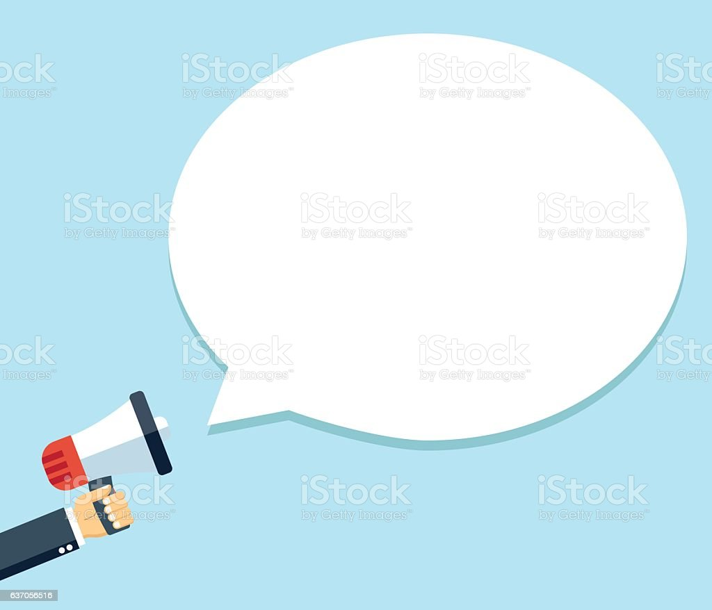 Megaphone in hand with  bubble speech vector illustration vector art illustration