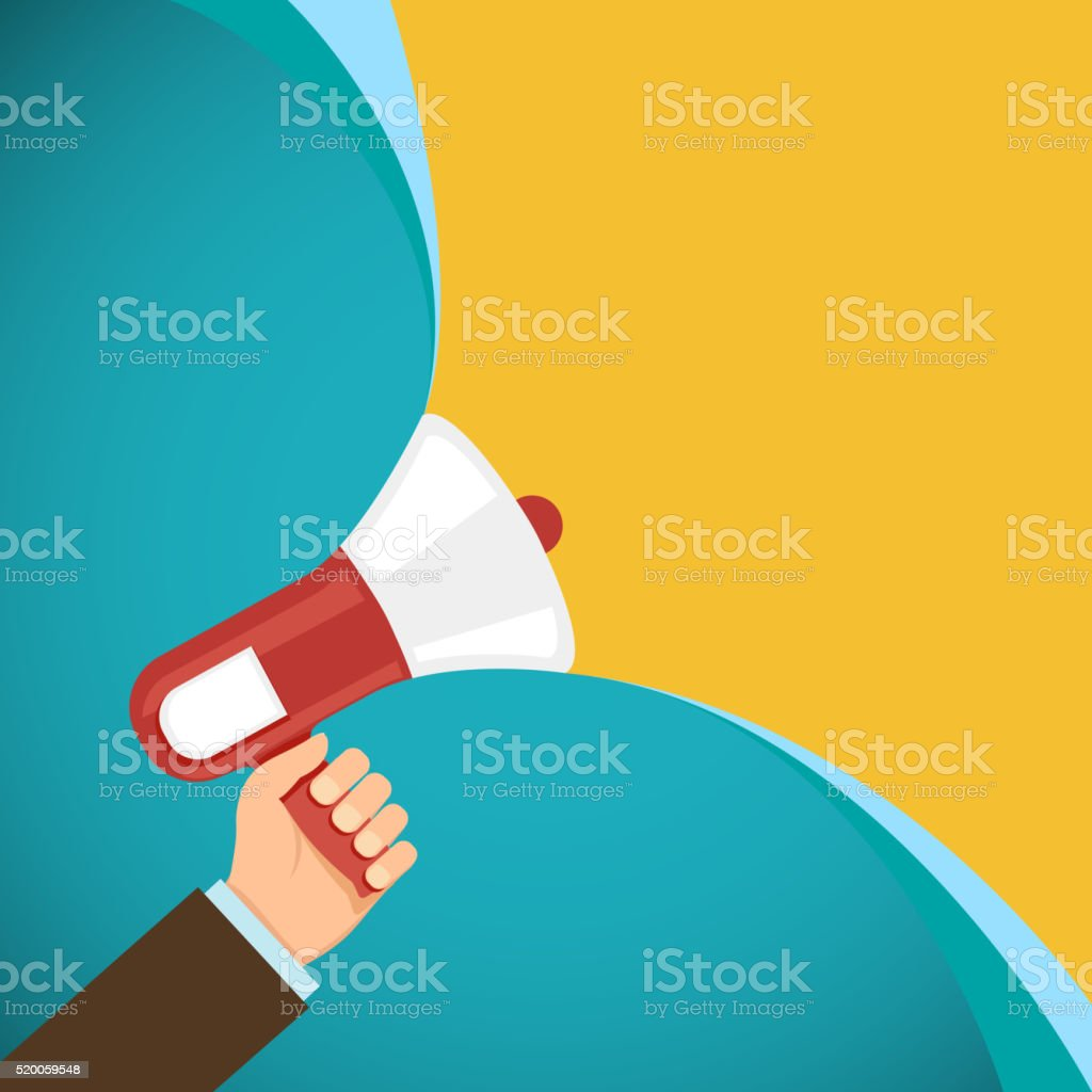 Megaphone in human hand. Marketing and promotions. vector art illustration