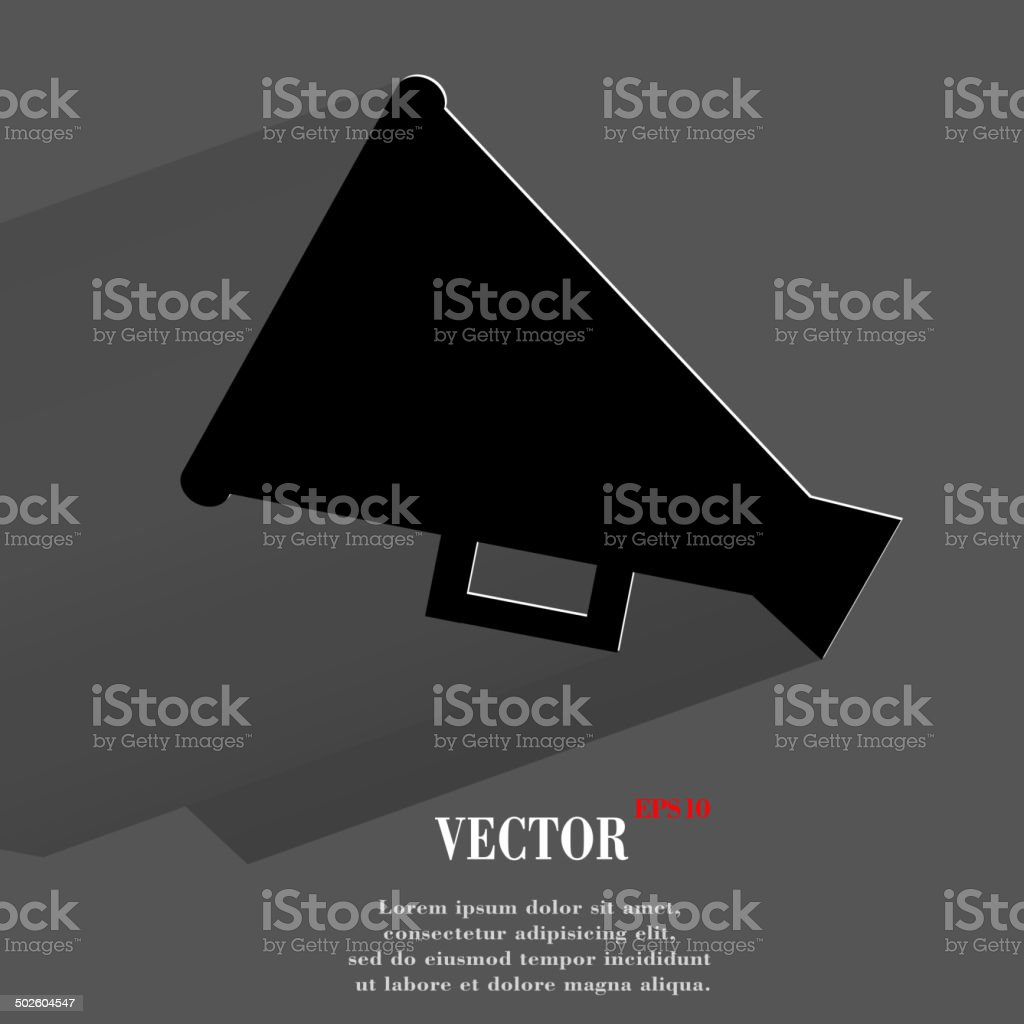 Megaphone, Loud-hailer .Flat modern web button with long shadow and royalty-free stock vector art