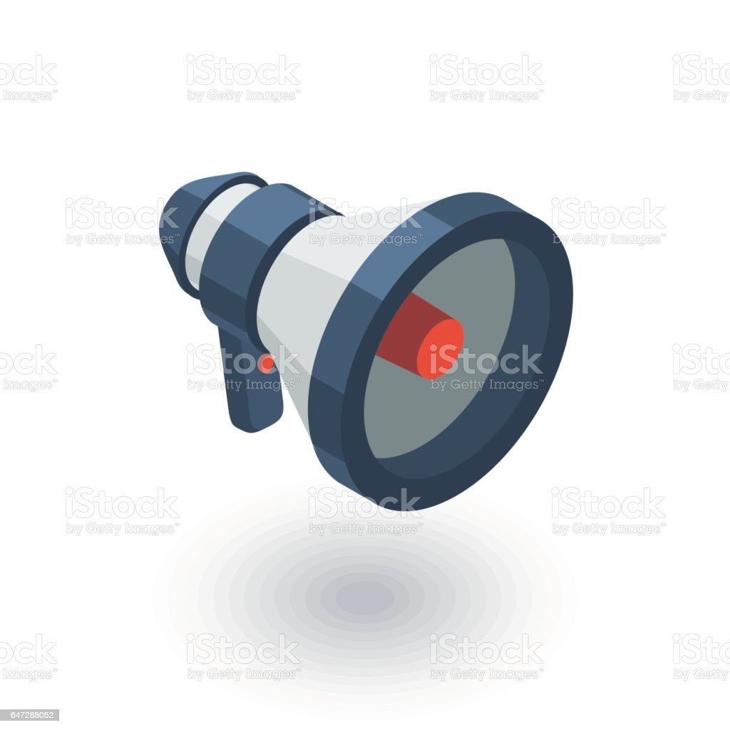 megaphone, speaker, broadcast, share isometric flat icon. 3d vector vector art illustration