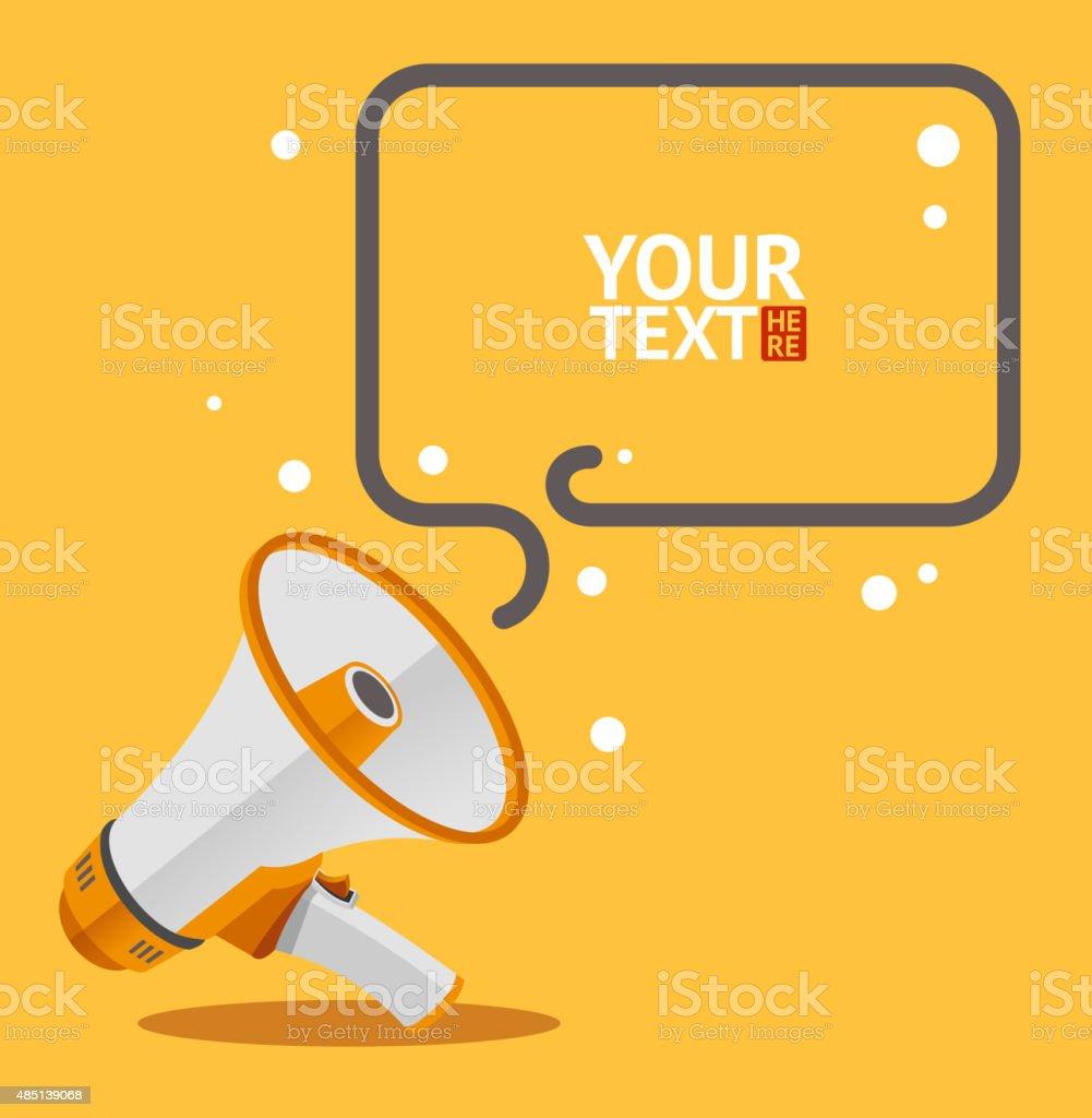 Megaphone text bubble card. Vector vector art illustration