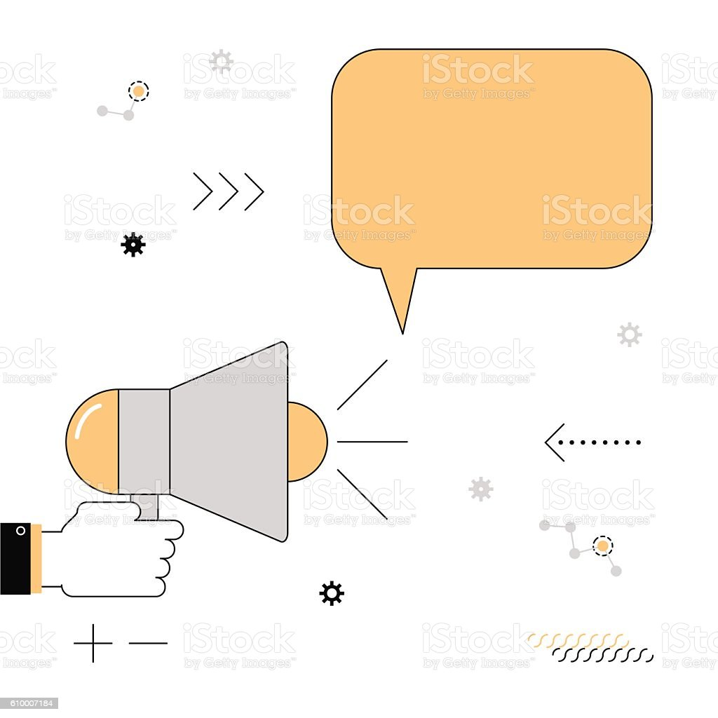 Megaphone. The speaker voiced information. Vector illustration  linear flat vector art illustration
