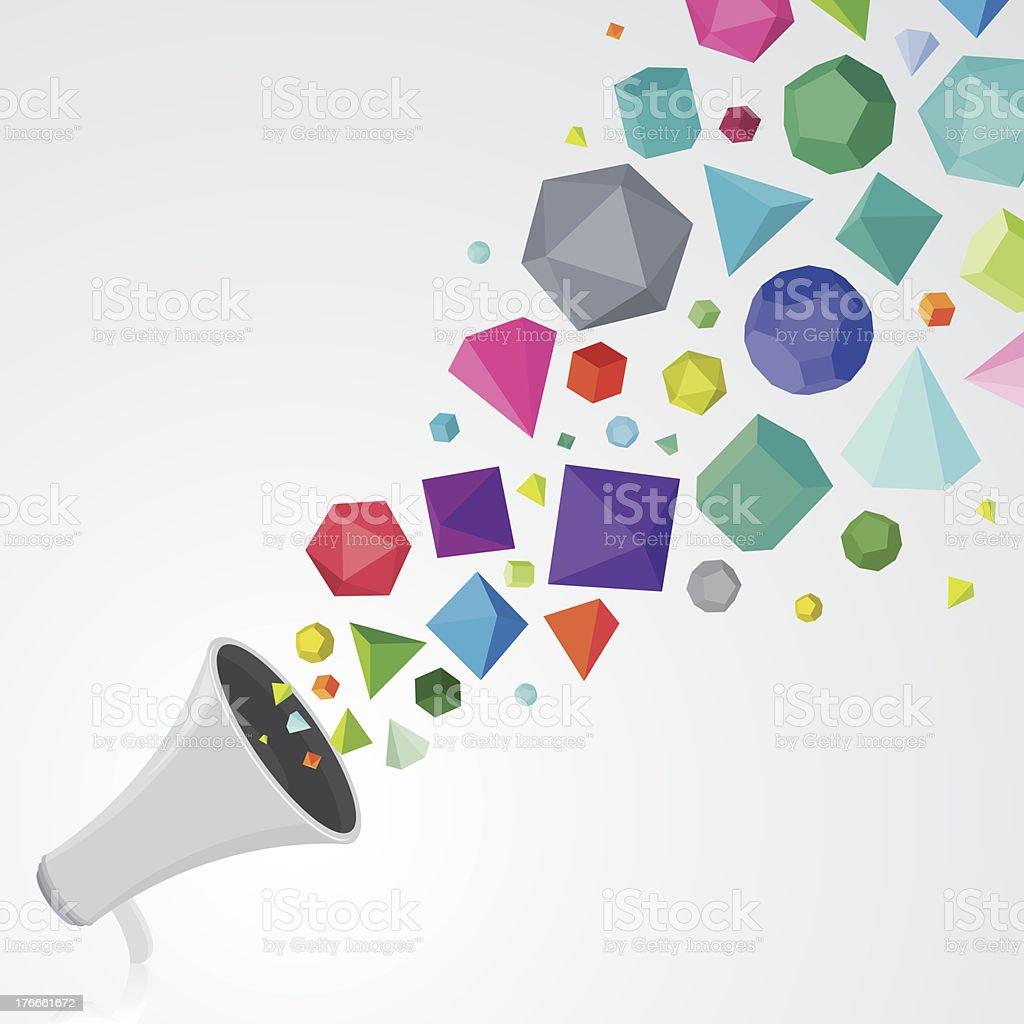 Megaphone with colourful gems vector art illustration