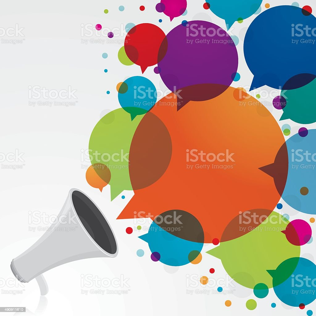 Megaphone with colourful speech bubbles vector art illustration