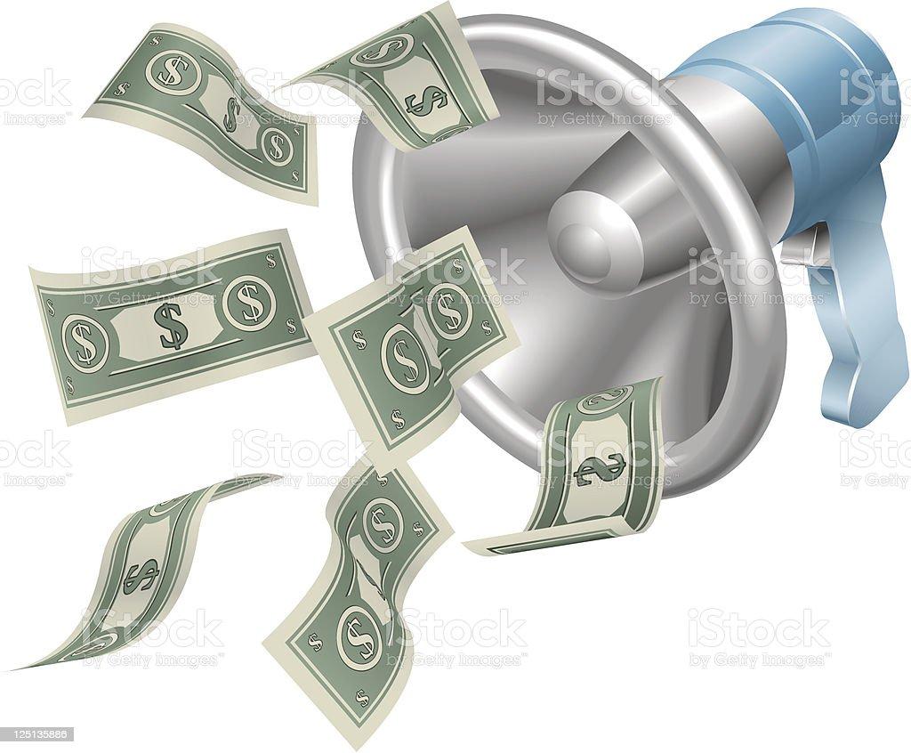 Megaphone with green money flying out illustration vector art illustration