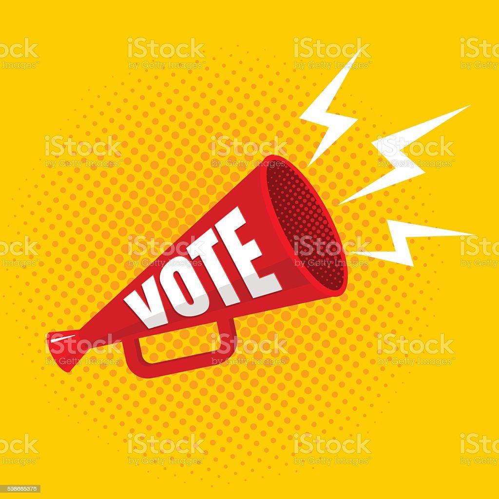 megaphone with vote vector art illustration