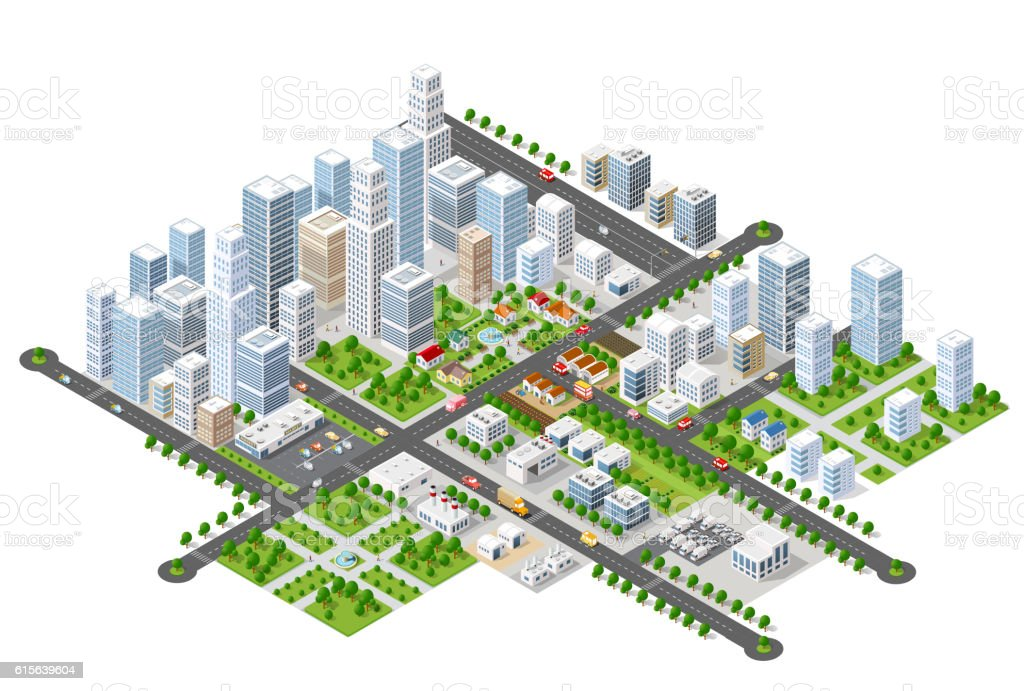 Megapolis 3d isometric vector art illustration