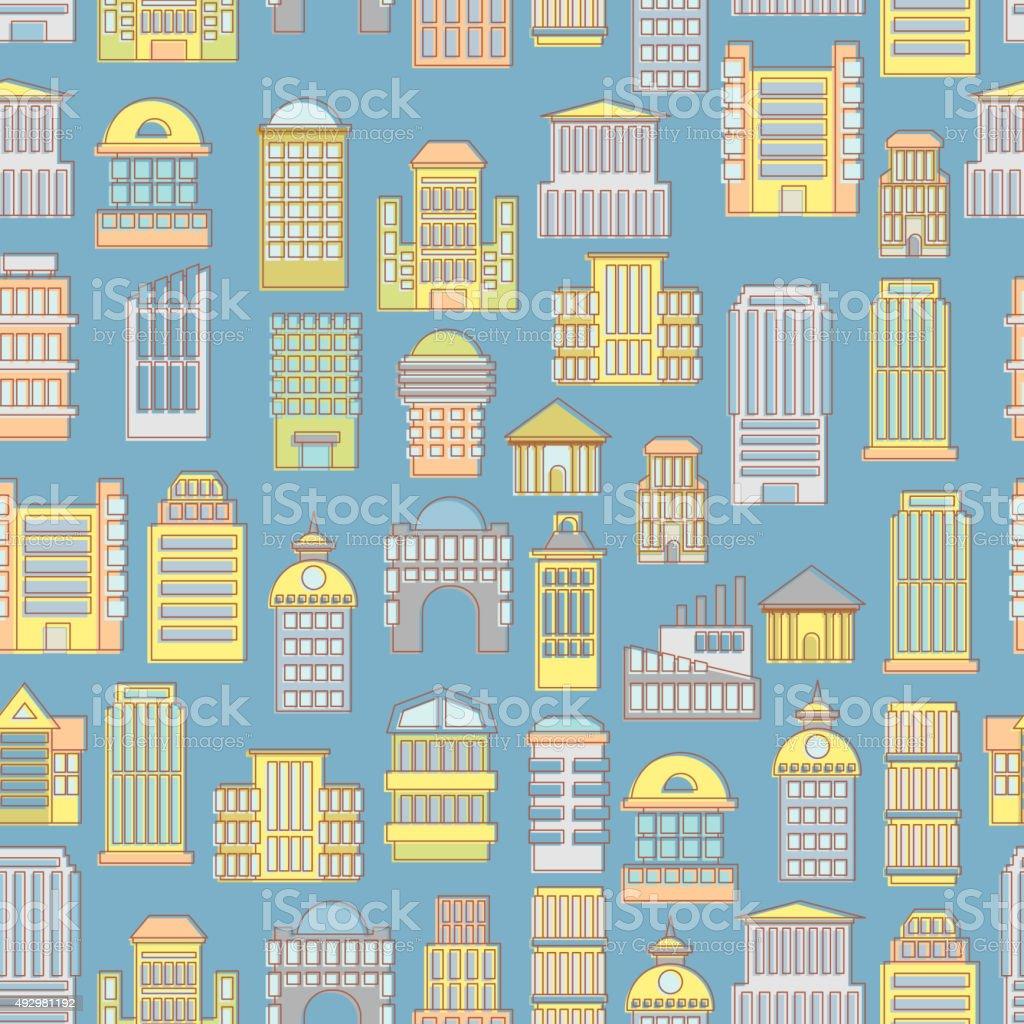 Megapolis seamless pattern. Background of  buildings city. Munic vector art illustration