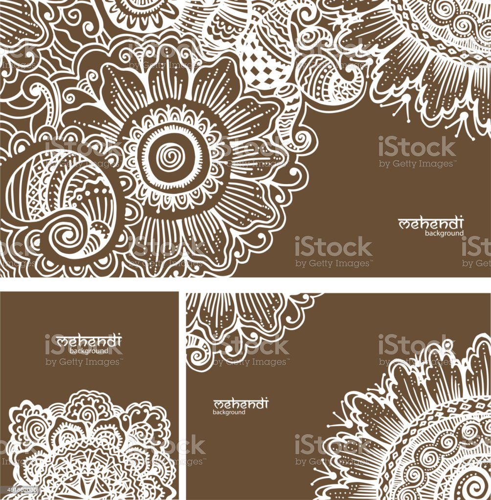 Mehendi abstract backgrounds vector art illustration