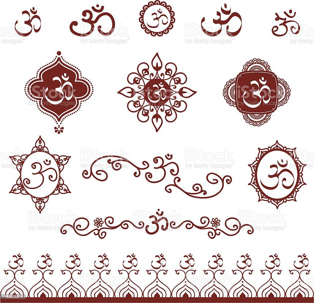 Mehndi Aum Designs vector art illustration