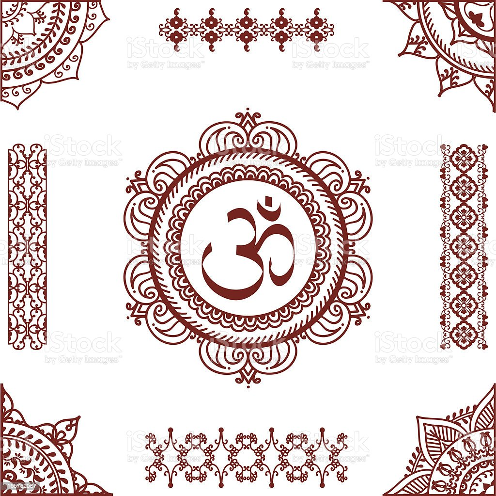 Mehndi Aum vector art illustration