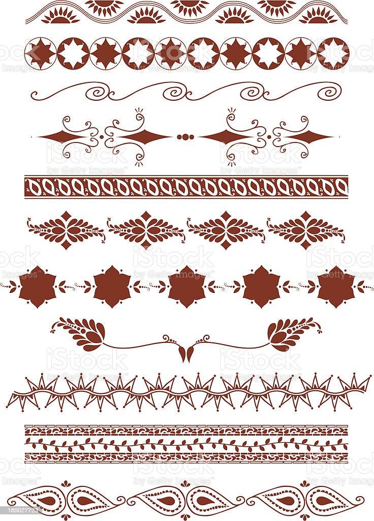 Mehndi Borders (Vector) royalty-free stock vector art