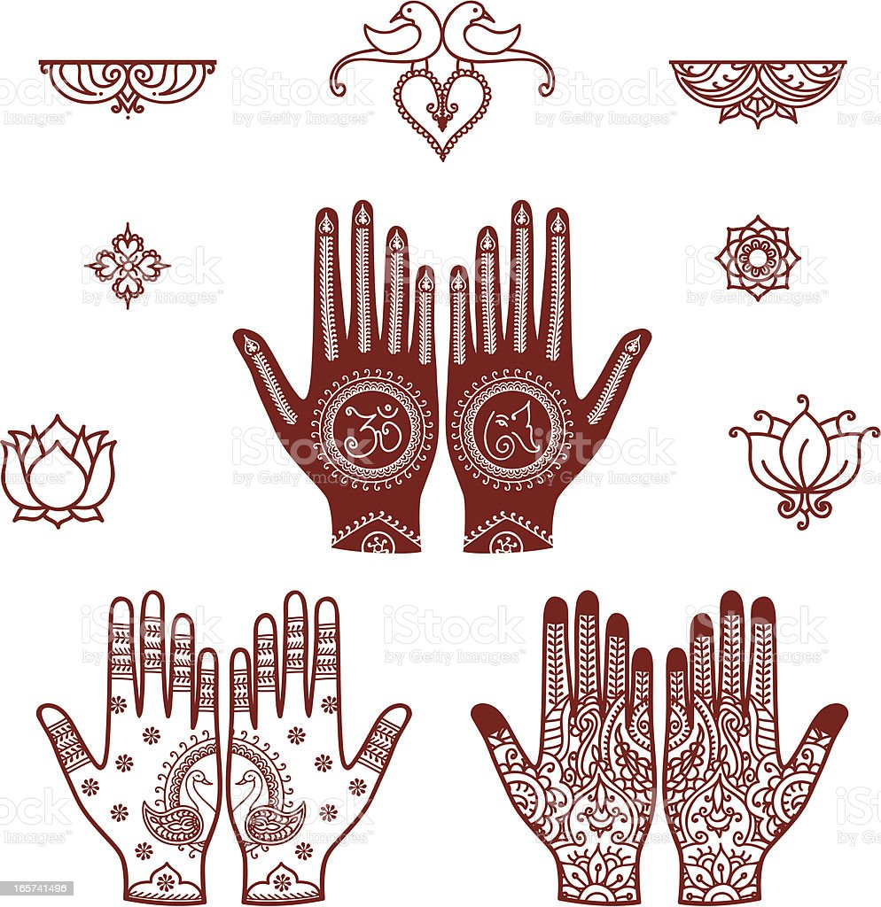 Mehndi Bridal Design Elements royalty-free stock vector art