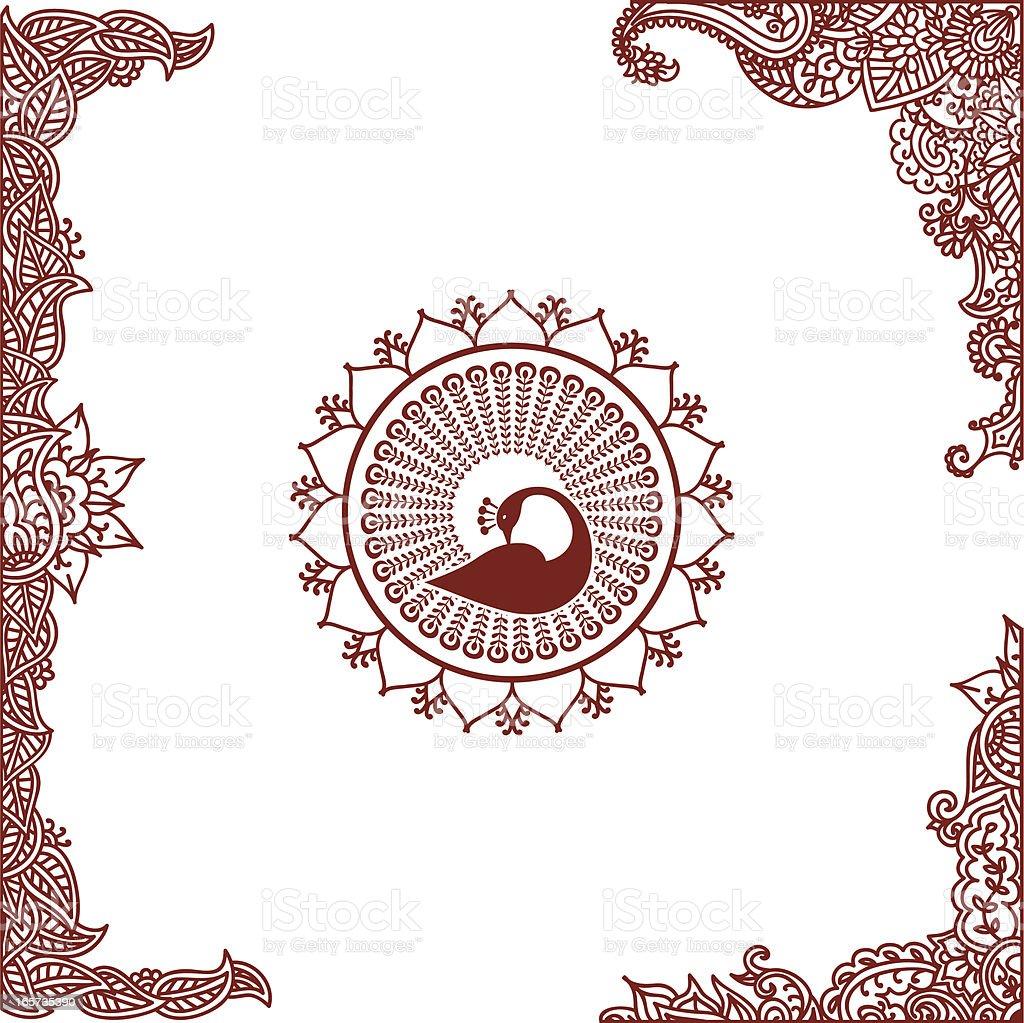 Mehndi Corner and Border Designs vector art illustration