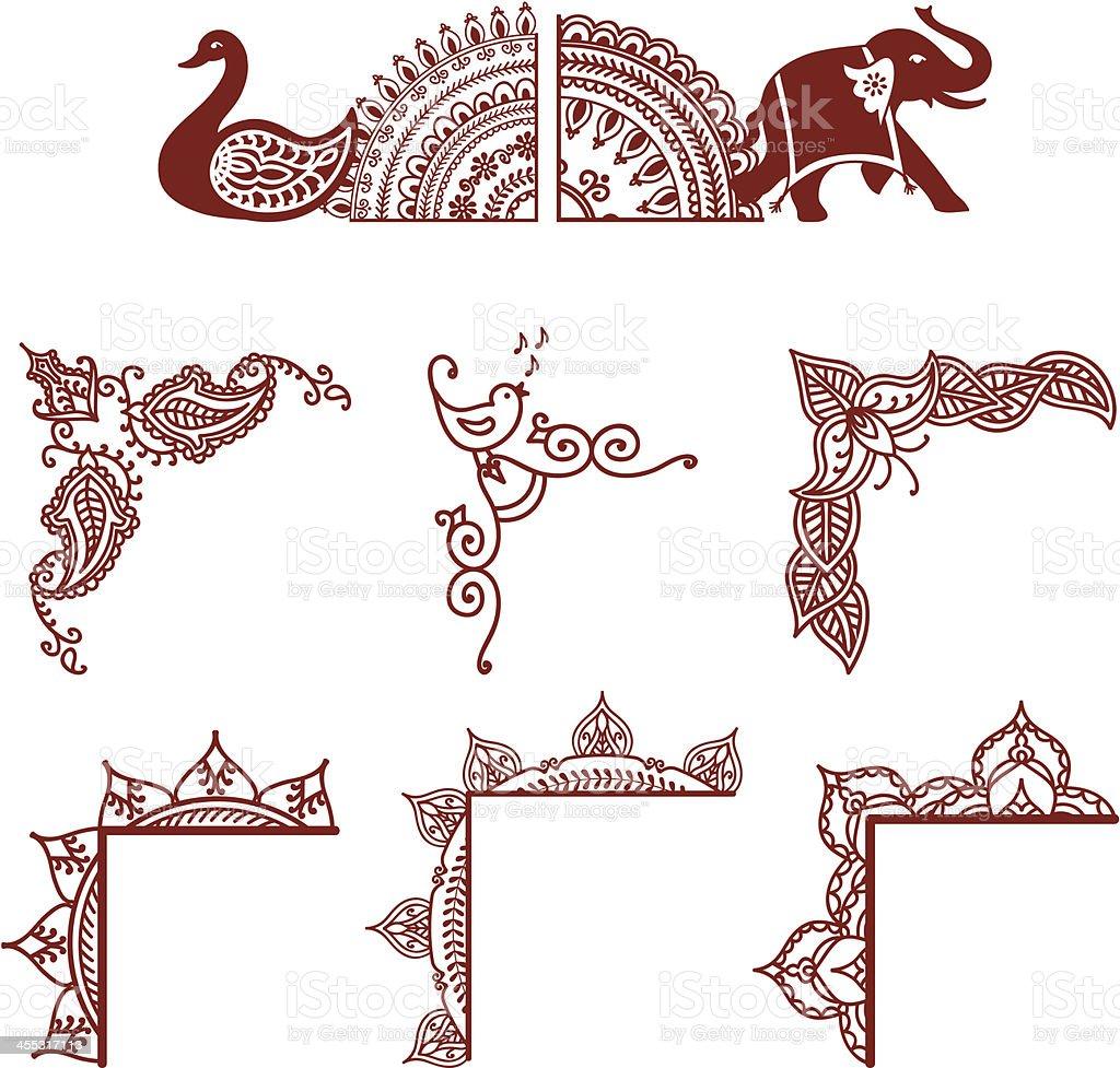 Mehndi Corners vector art illustration