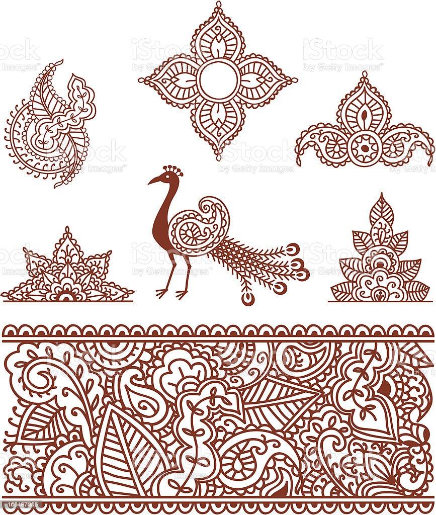 Mehndi Designs (Vector) vector art illustration