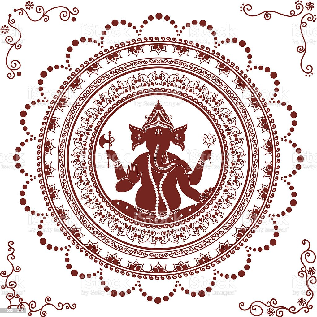 Mehndi Ganesh Mandala vector art illustration