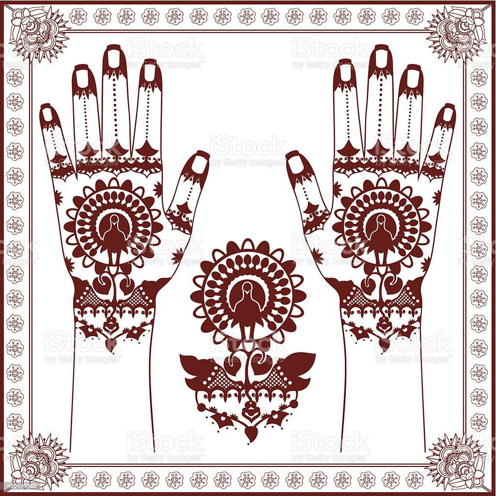 Mehndi Henna painting silhouette of Peacock in the middle royalty-free stock vector art