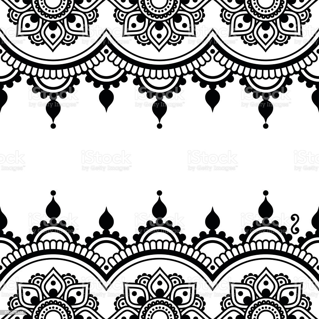 Mehndi, Indian Henna tattoo design - greetings card, lace ornament vector art illustration