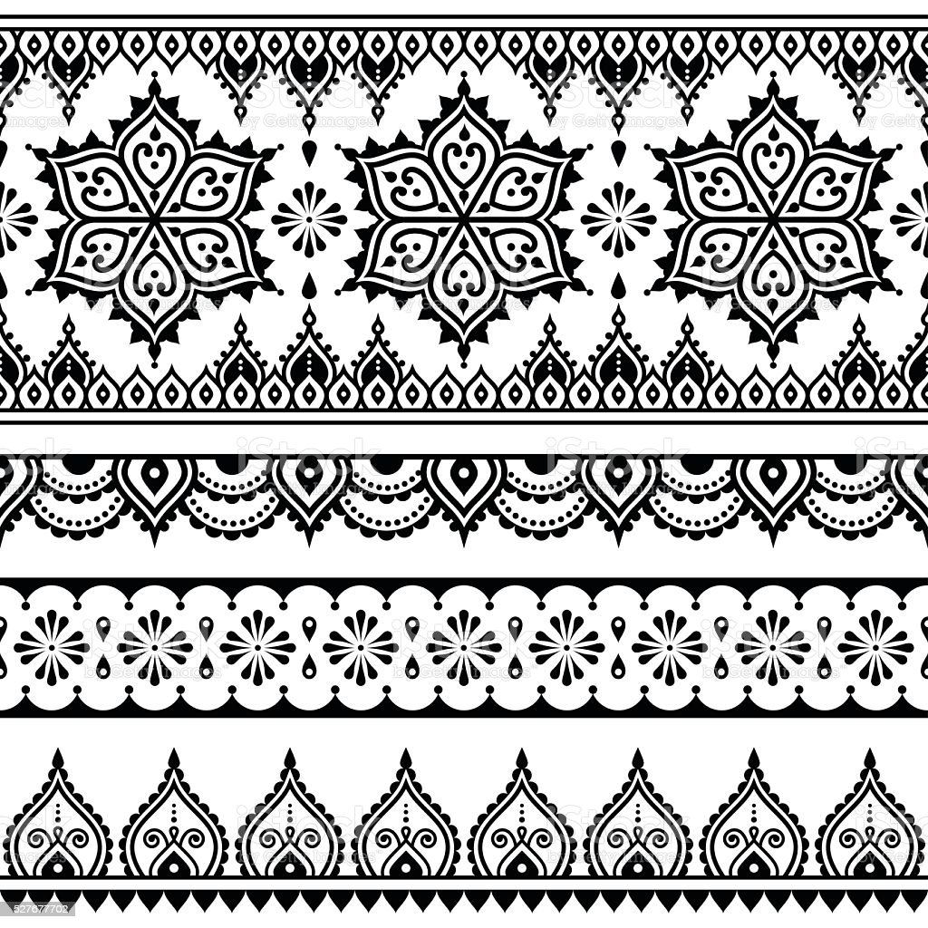 Mehndi, Indian Henna tattoo seamless pattern, design elements vector art illustration