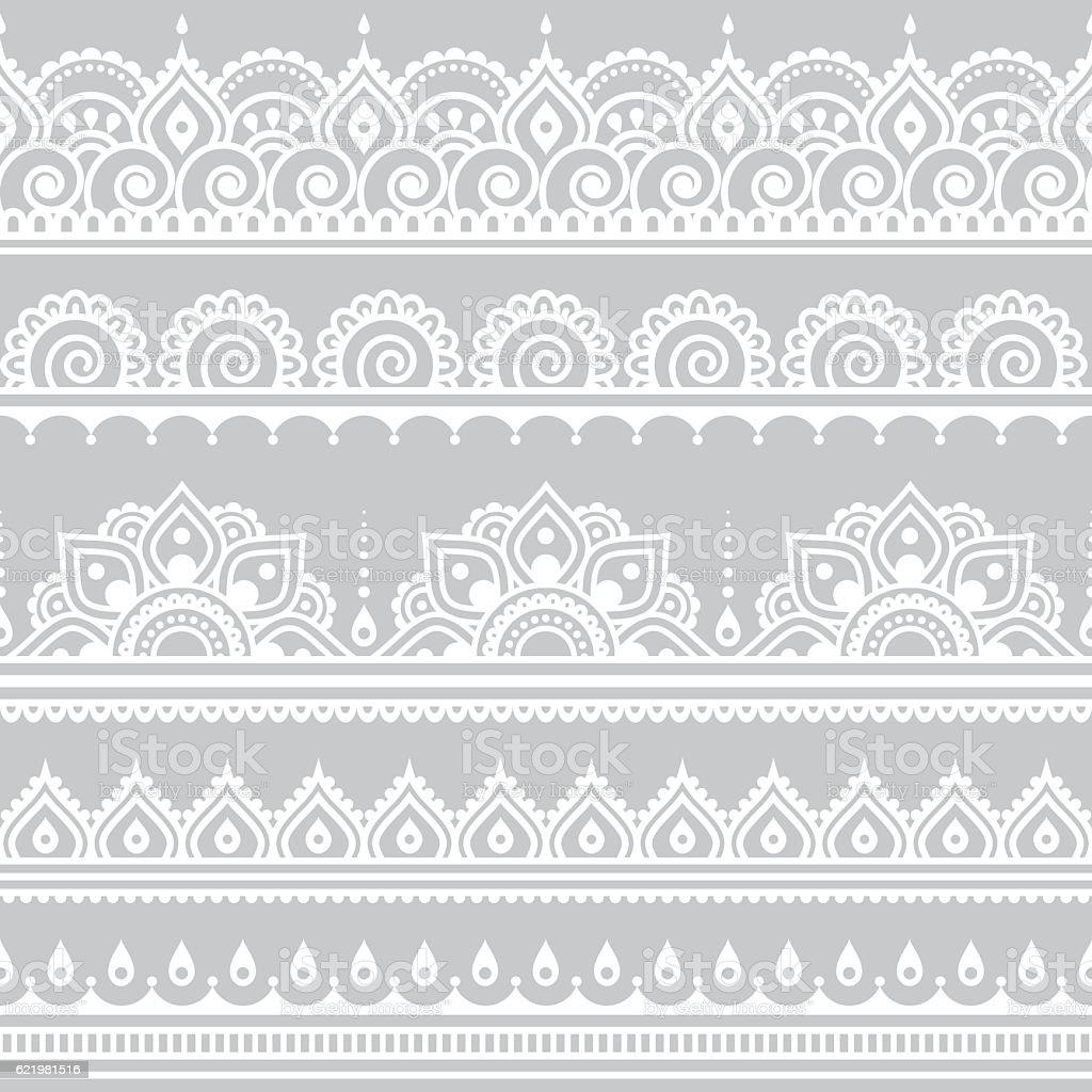 Mehndi, Indian Henna tattoo seamless white pattern on grey background vector art illustration