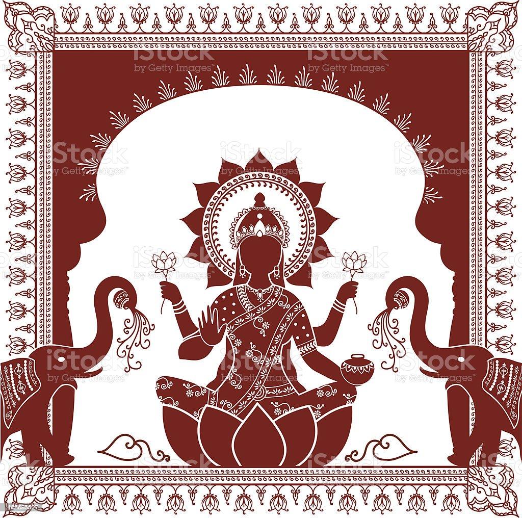 Mehndi Lakshmi vector art illustration