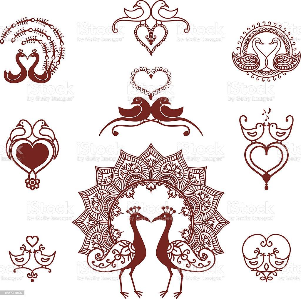 Mehndi Lovebirds vector art illustration