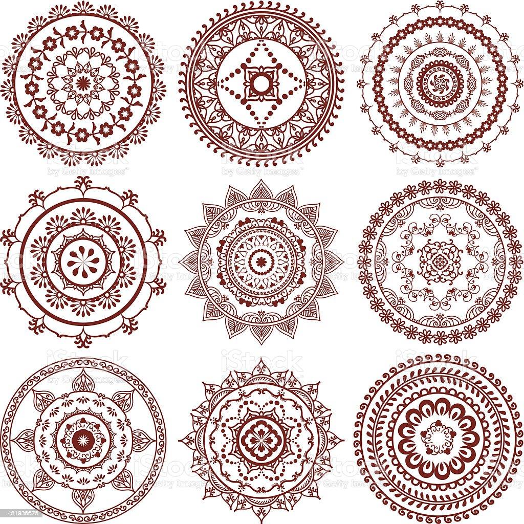 Mehndi (henna) Mandalas vector art illustration
