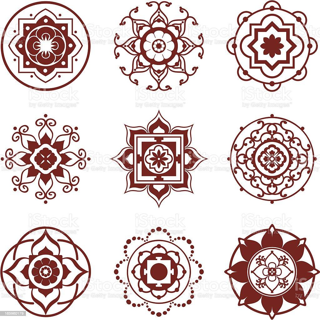 Mehndi Mini Mandalas royalty-free stock vector art