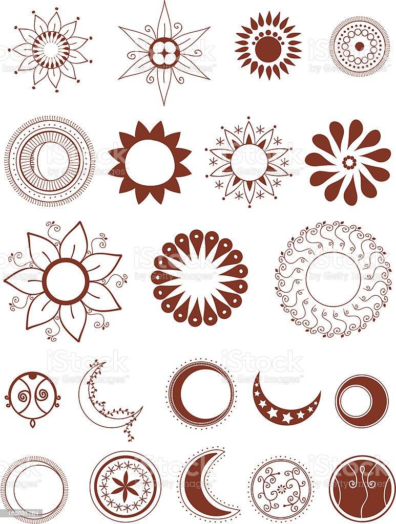 Mehndi Moons and Suns (Vector) royalty-free stock vector art