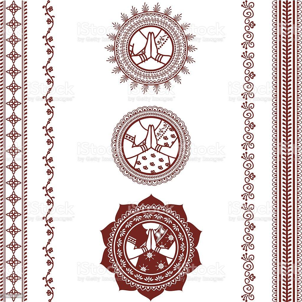 Mehndi Namaste Collection vector art illustration