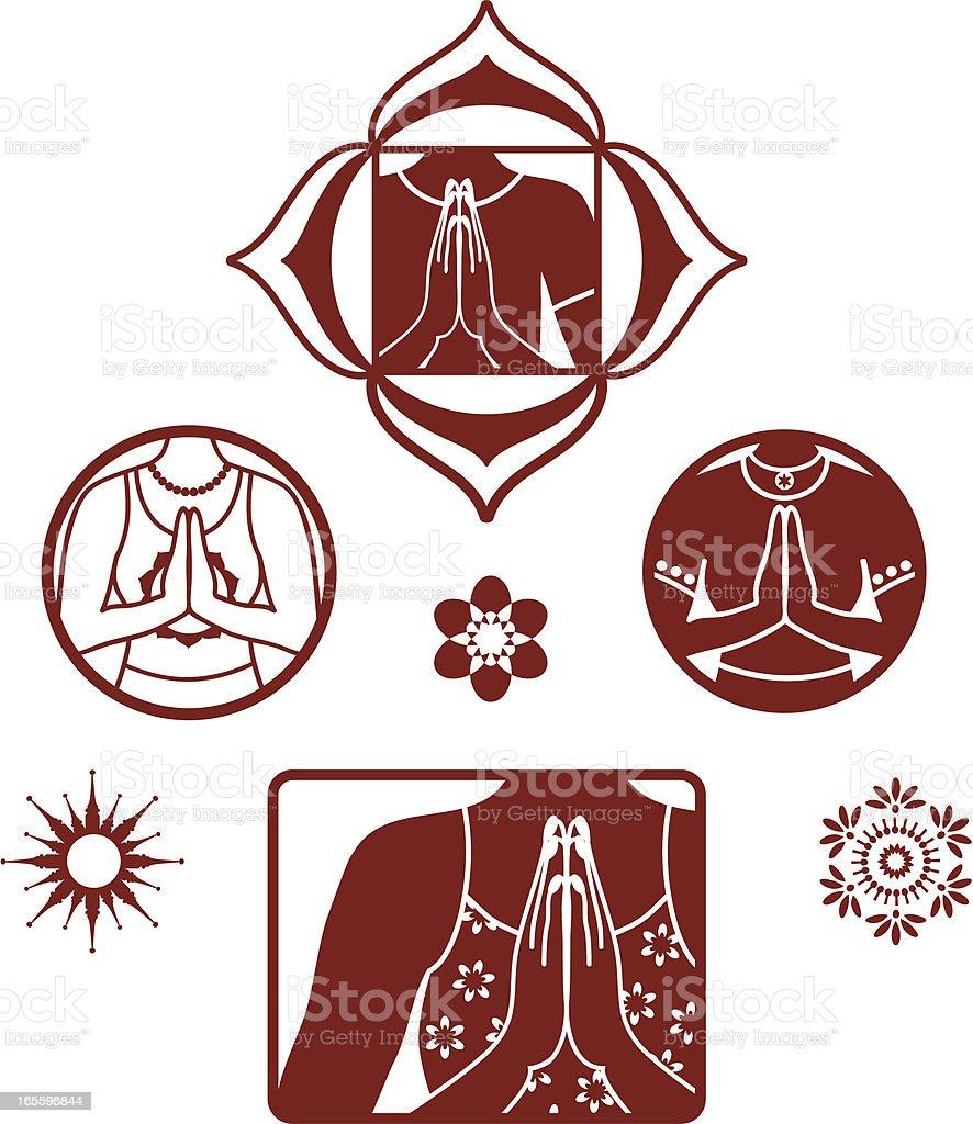 Mehndi Namaste Collection (Vector) vector art illustration