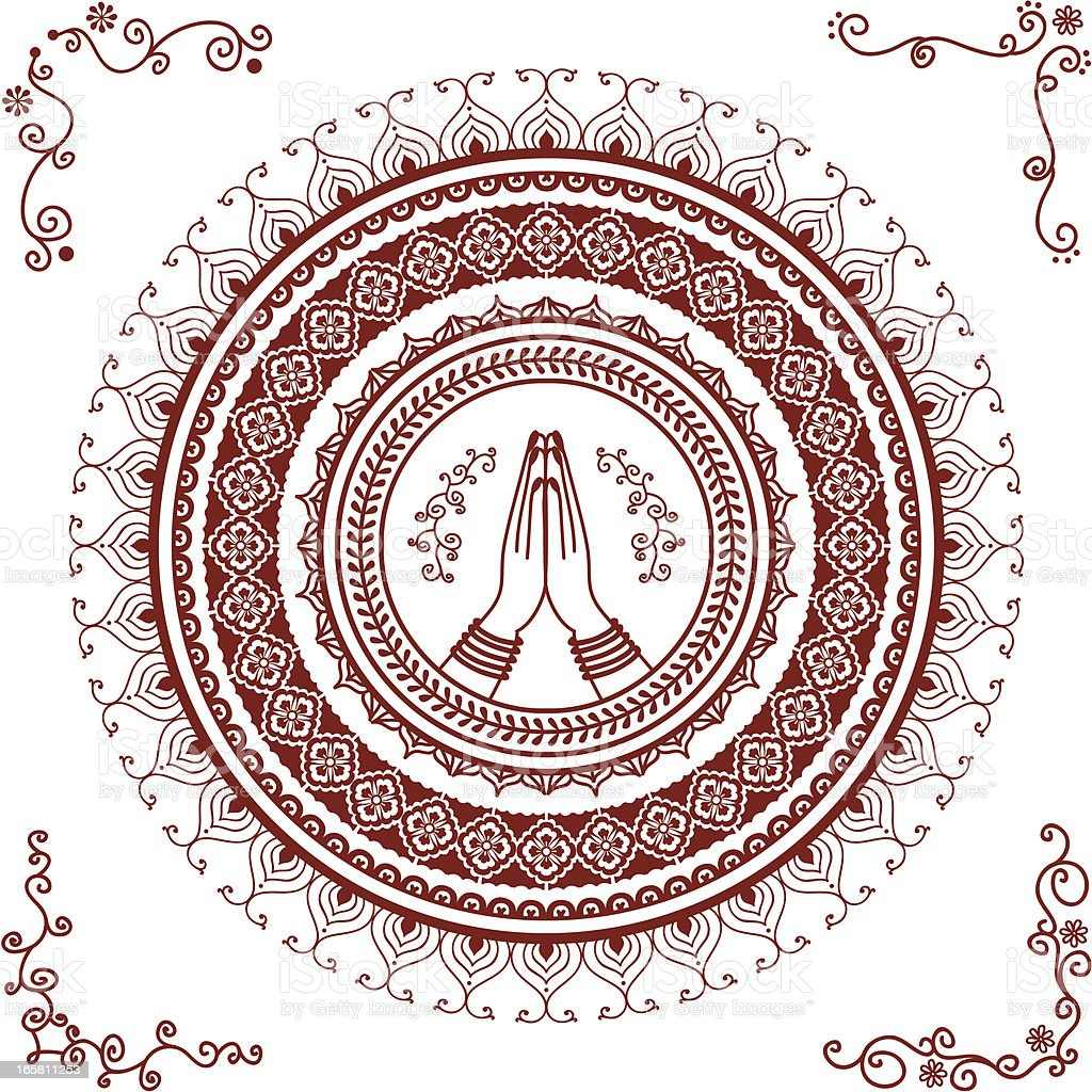 Mehndi Namaste Mandala royalty-free stock vector art